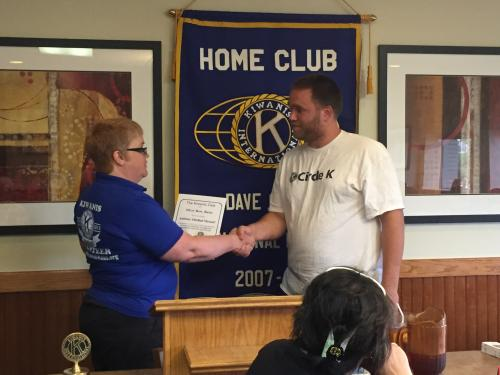 Welcoming Anthony to Silver Bow Kiwanis